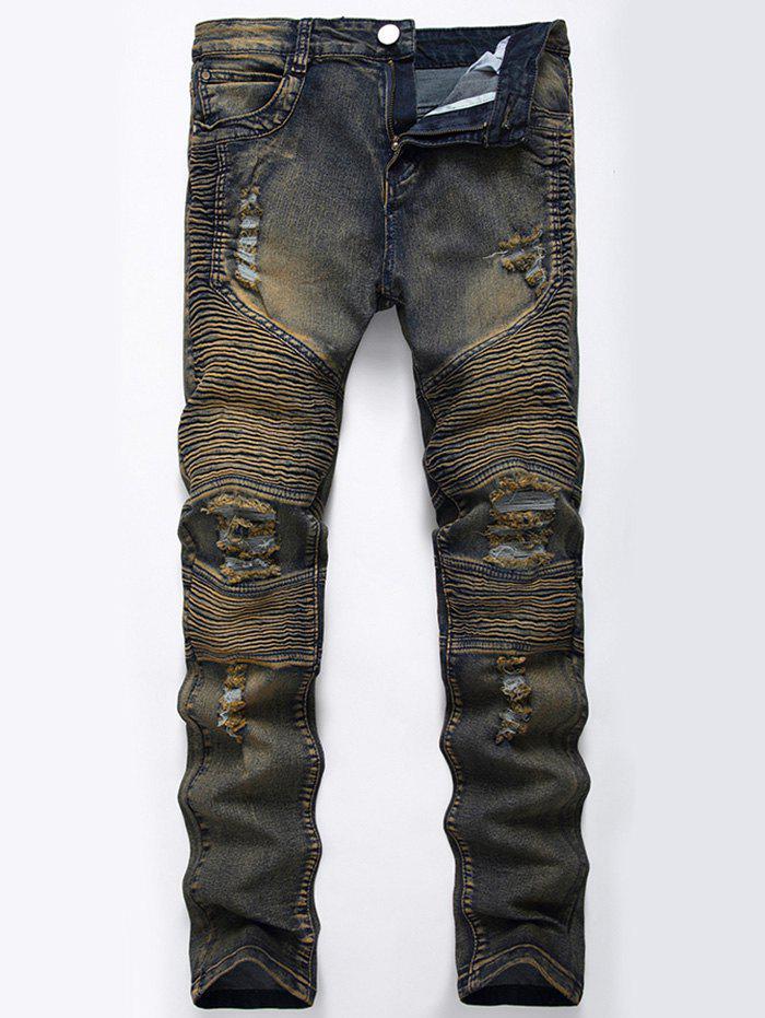 Jeans Moto Droit Déchiré Couleur Lavée