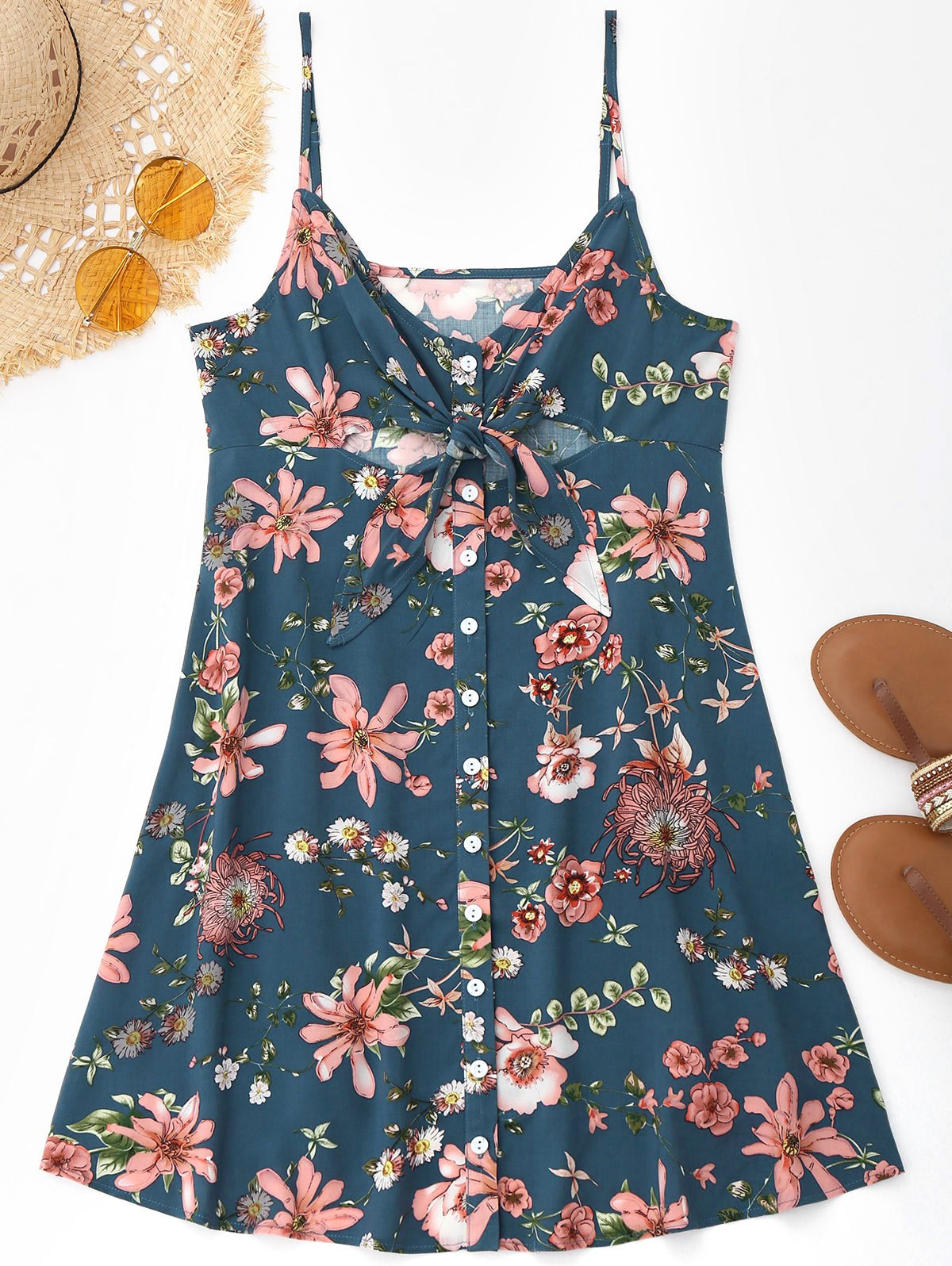 Cami Tied Floral Cut Out Slit Beach Dress