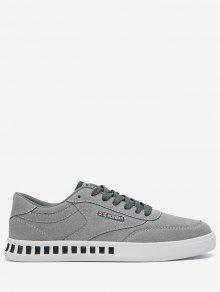 Buy Stitching Color Block Letter Skate Shoes - GRAY 39