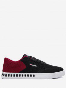 Stitching Color Block Letter Skate Zapatos - Rojo Con Negro 44