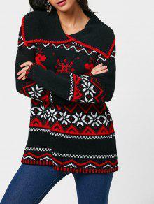 Camisola De Colar De Volta De Natal Snowflake Reindeer Turn-Down - Preto