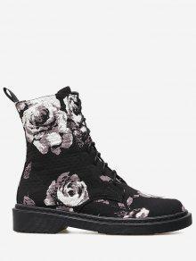 حذاء مخيط ذو أربطة مزين بالورود - أسود 36