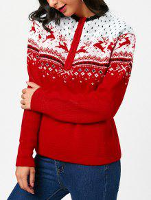 Buy Half Zip Christmas Deers Pattern Pullover Sweater - RED ONE SIZE