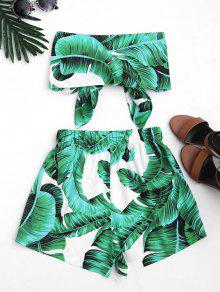 Cortos Print Tirantes Pantalones Set Verde Top Sin Leaves S Y ZHxvvf