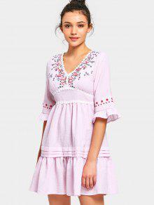 Vestido Con Cuello En V Con Remiendos Florales Rayado Mini - Rosa M