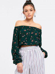 Blusa De Hombro Con Motivos Florales - Verde S