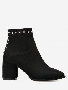 حذاء الكاحل مزين بمسامير مدبب من الأمام ذو كعب عريض - أسود 40