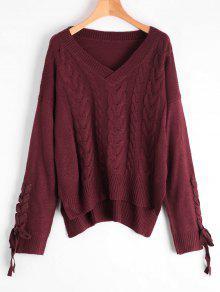 Encaje Hasta El Cuello Knit V Suéter Cuello - Vino Rojo
