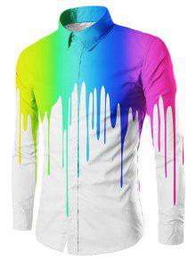 بالتنقيط رسمت ضئيلة تناسب قميص طويل الأكمام - أبيض L