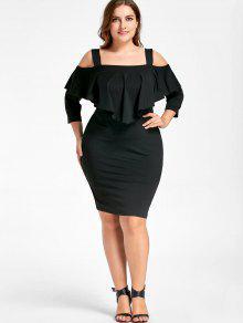 فستان الحجم الكبير باردة الكتف ملائم - أسود Xl