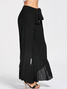 Tie Side Ruffle Slit Palazzo Pantalones - Negro L