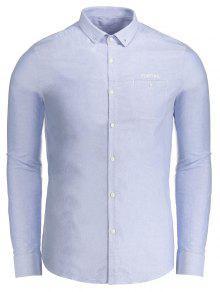 Chemise Boutonnée à Lettre - Bleu 2xl