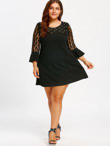 beaded lace insert plus size shift dress black: plus size dresses