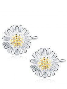 Pendientes De Perlas De Flores De Plata Esterlina - Plata