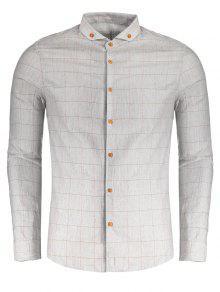 Camisa A Cuadros Con Botones - Gris Xl