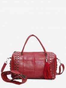 حقيبة توتي مبطنة مزينة بمسامير وشرابات - أحمر