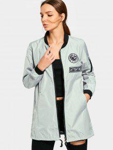 Zip Up Badge Manteau Rembourré Avec Poches - Vert Grisâtre S