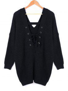 Cuello En V De Encaje Hasta El Tamaño Más Suéter - Negro 5xl