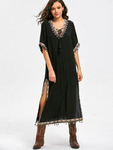 Lace Up Side Slit Tribal Pattern Vestido De Bohemia - Negro 2xl