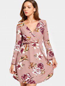 فستان مصغر طباعة الأزهار طويلة الأكمام  - زهري L