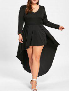 Vestido De Coquetel Com Tamanho Grande V Neck - Preto 5xl