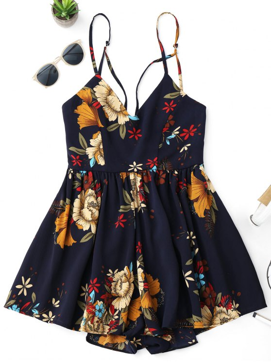 unique Floral Criss Cross Romper - FLORAL S