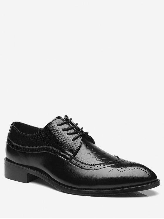 النقش أشار اصبع القدم أحذية رسمية - أسود 44