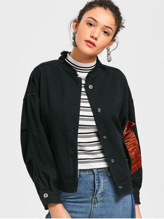 online Arrow Embroidered Denim Jacket - BLACK ONE SIZE