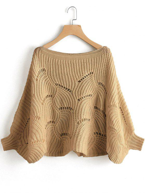 Batwing Oversized Cut Out Pullover - Khaki S
