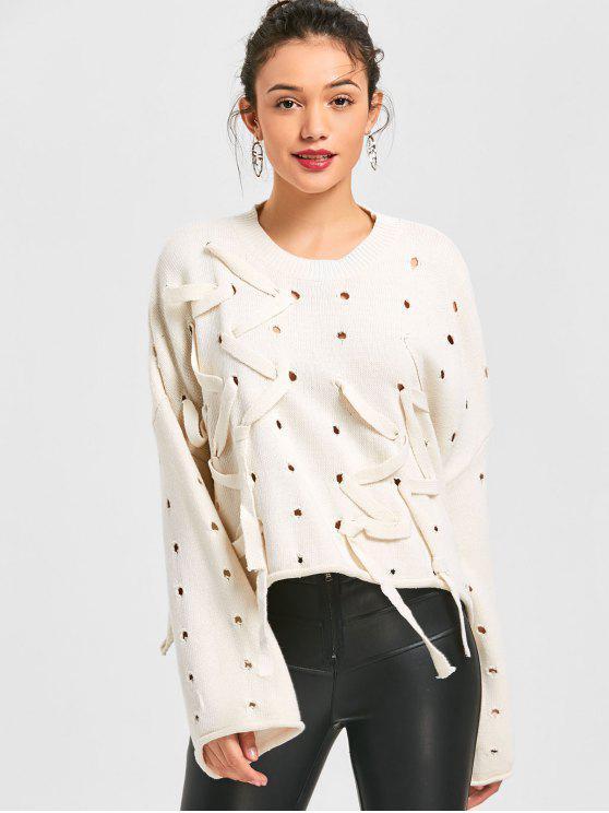 Zerrissener Übergröße Pullover - Beige (Weis) Eine Größe