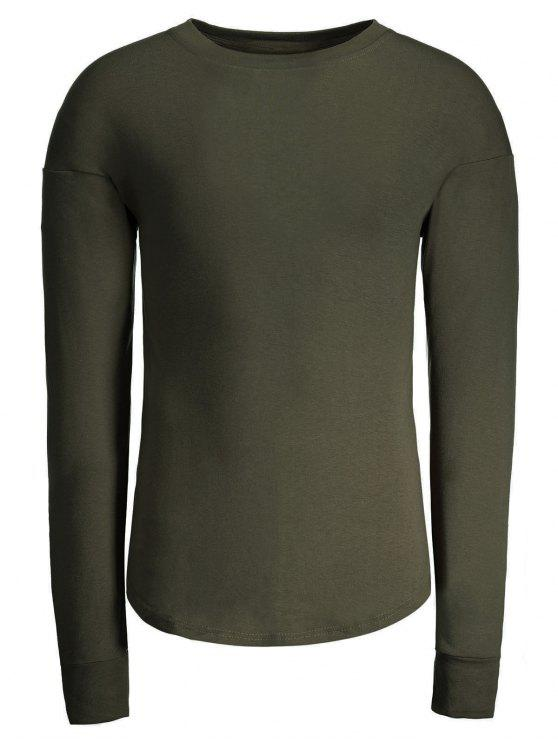 f8ac0398ed79 32% OFF] 2019 Cotton Long Sleeve T-shirt In ARMY GREEN | ZAFUL