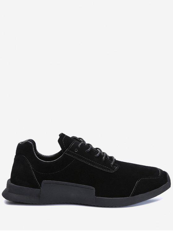 Round Toe Tie Up Sneakers - Noir 40