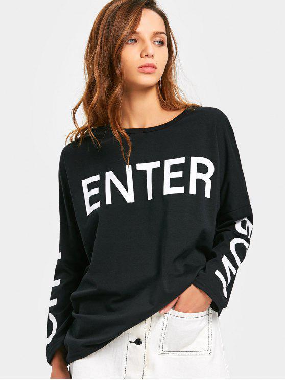 Letra, impresión, hombro, alto, bajo, camiseta - Negro 2XL