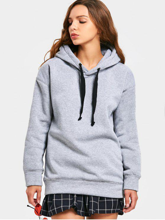Side Zipper Drawstring Longline Hoodie - Grau XL