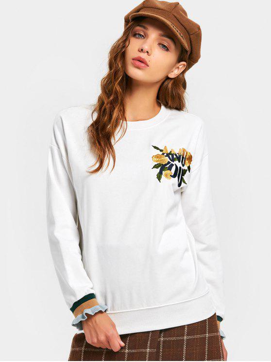 Camiseta bordada floral del hombro de la gota del remiendo - Blanco XL