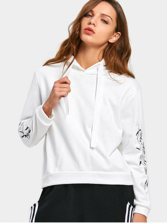 lady Floral Embroidered Patchwork Drawstring Hoodie - WHITE M