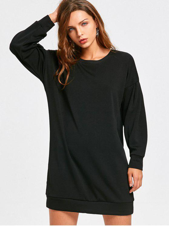 latest Casual Long Sleeve Longline Sweatshirt - BLACK L