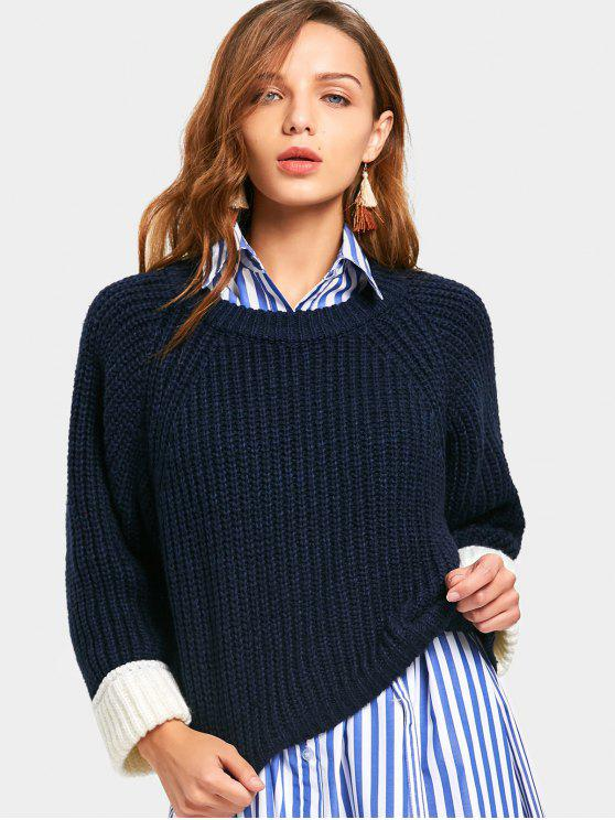 Camisola de contraste de fenda traseira - Azul Arroxeado Tamanho único