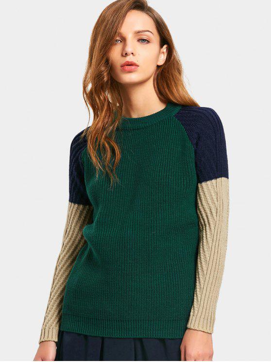 Contraste Raglan manga suéter - Multi Única Talla