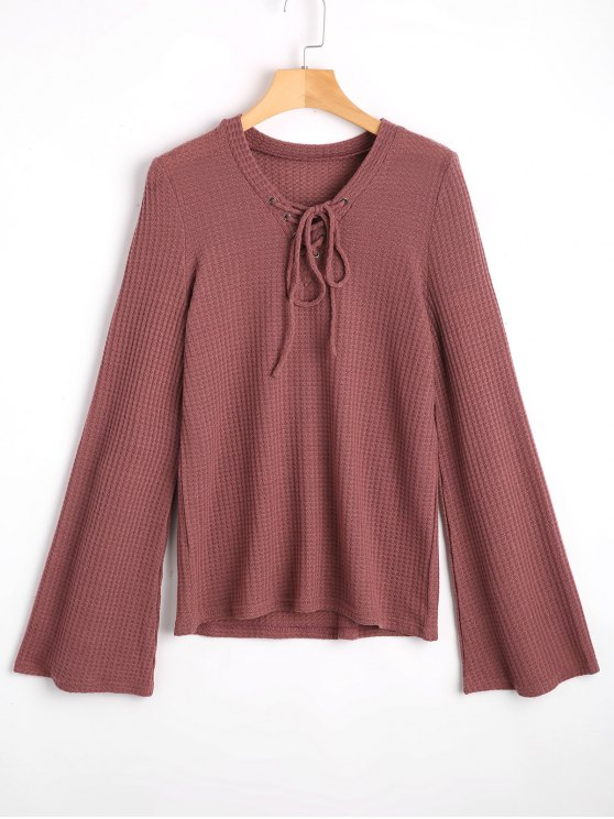 Flare Sleeve V Neck Lace Up Sweater - Esmagamento S