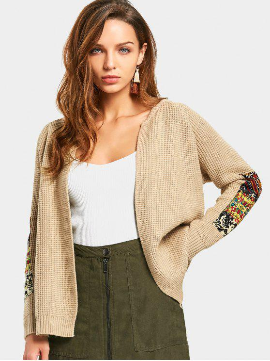 best Open Front Patched Cardigan - KHAKI ONE SIZE
