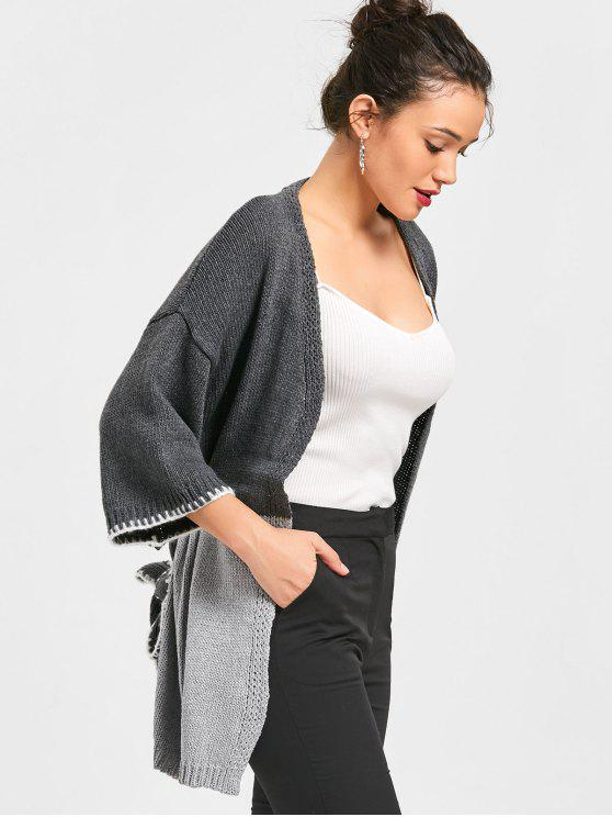 hot Two Tone Open Cardigan - GRAY ONE SIZE