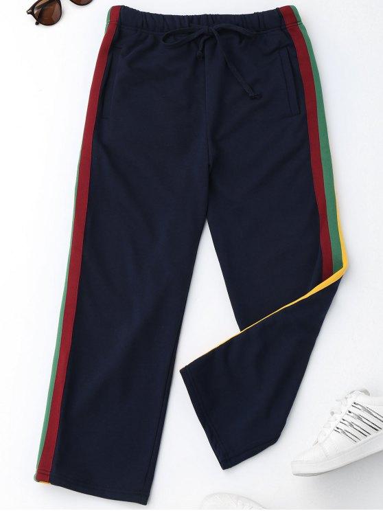 Pantalons à rayures à cordon - Bleu Violet M