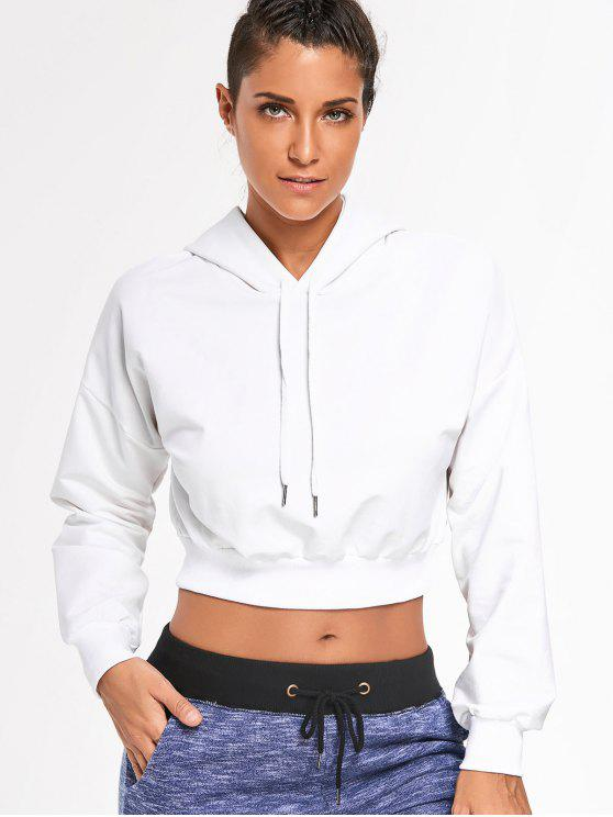 affordable Drop Shoulder Cropped Hoodie - WHITE M
