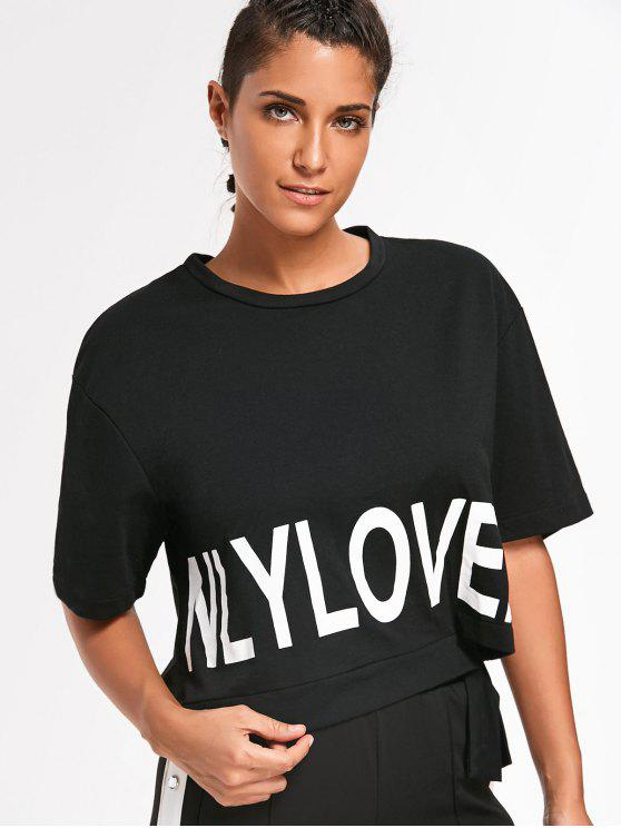 ladies Casual Letter Tie Side Top - BLACK L