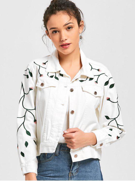 Jeansjacke mit Pflanze Stickereien - Weiß S