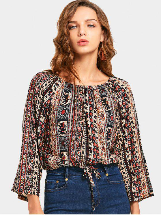 Tribal Print Tunnelzug Taille Ernte Bluse - Multi XL