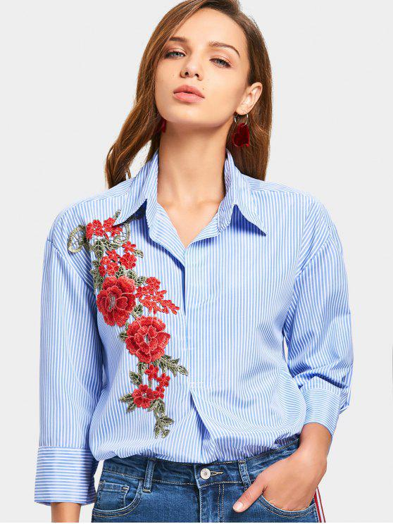 8516815157f 36% OFF  2019 Flower Patched Striped Longline Shirt In LIGHT BLUE ...
