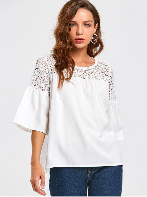 Ausschnitt Lace Panel Bluse - Weiß XL
