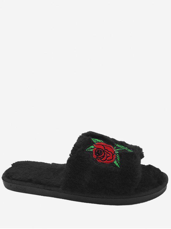 Flor de bordado de piel sintética abiertas zapatillas dedo del pie - Negro Tamaño (40-41)